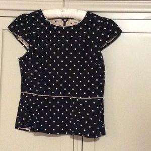 Loft peplum top black wit tan polka dots. Size 10